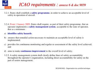 ICAO requirements :  annexe 6 & doc 9859