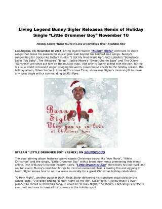 Living Legend Bunny Sigler Releases Remix of Holiday Single