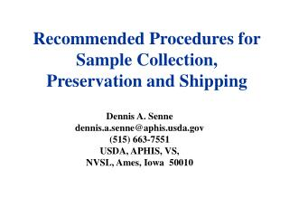 Recommended Procedures for Sample Collection, Preservation and Shipping