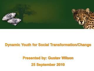 Dynamic Youth for Social Transformation/Change Presented by: Gustav Wilson 25 September 2010