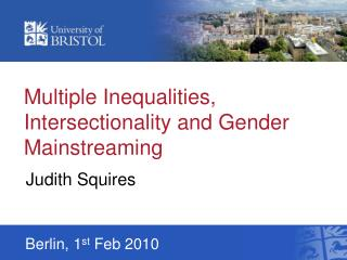 Multiple Inequalities, Intersectionality and Gender Mainstreaming