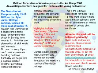 Balloon Federation of America presents Hot Air Camp 2008