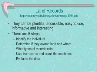 Land Records ancestry/library/view/ancmag/3364.asp