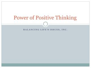 Power of Positive Thinking