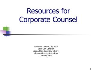 Resources for  Corporate Counsel