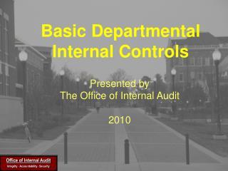 Basic Departmental Internal Controls