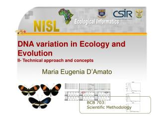 DNA variation in Ecology and Evolution II- Technical approach and concepts