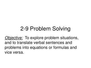 2-9 Problem Solving