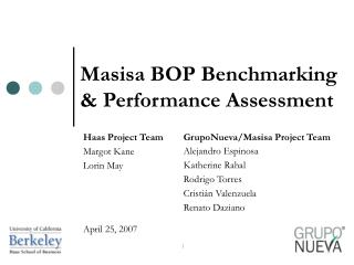 Masisa BOP Benchmarking & Performance Assessment