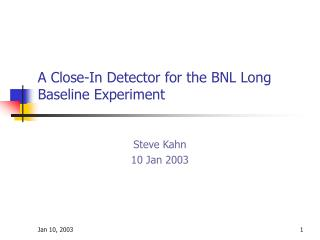 A Close-In Detector for the BNL Long Baseline Experiment