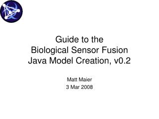 Guide to the Biological Sensor Fusion Java Model Creation, v0.2