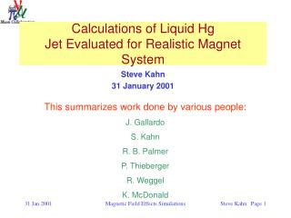 Calculations of Liquid Hg Jet Evaluated for Realistic Magnet System