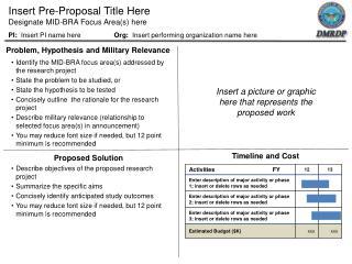 Insert Pre-Proposal Title Here Designate MID-BRA Focus Area(s) here