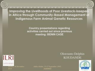 Country presentations regarding activities carried out since previous meeting: BENIN CASE