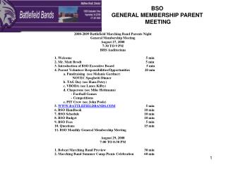 BSO  GENERAL MEMBERSHIP PARENT  MEETING