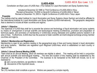 ILASS-ASIA Bye-Laws 1/3