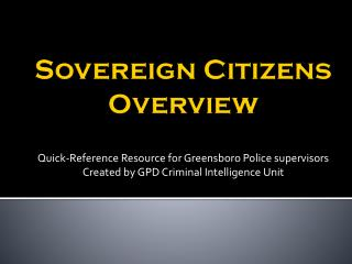 Sovereign Citizens Overview