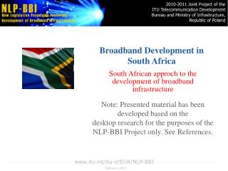 Broadband Development in  South Africa