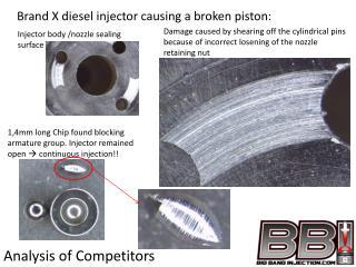 Brand X  diesel injector causing a broken piston: