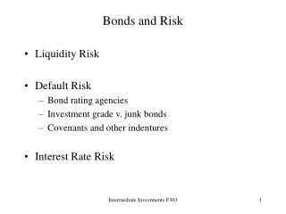 Bonds and Risk