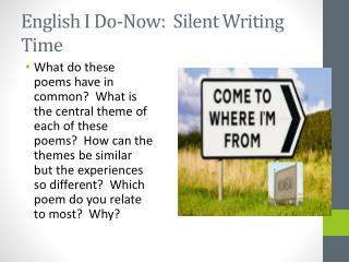 English I Do-Now:  Silent Writing Time