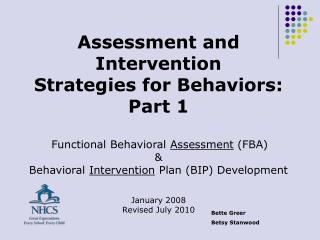 Assessment and Intervention  Strategies for Behaviors: Part 1