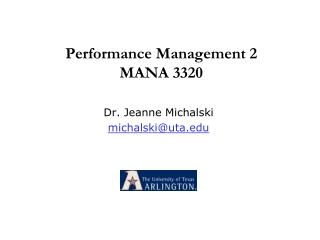 Performance Management 2 MANA 3320