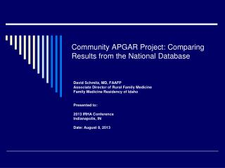 Community APGAR Project: Comparing Results from the National Database