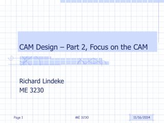 CAM Design – Part 2, Focus on the CAM