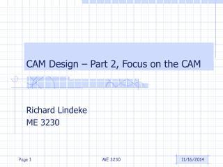 CAM Design � Part 2, Focus on the CAM