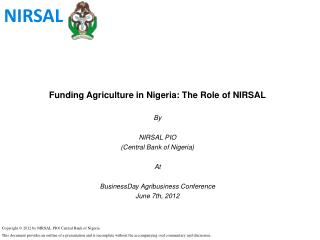 Funding Agriculture in Nigeria: The Role of NIRSAL