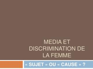Media et discrimination de la femme