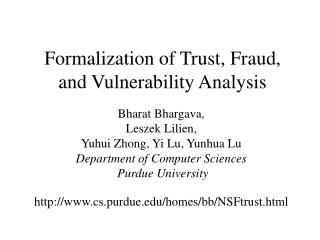 Formalization of Trust, Fraud, and Vulnerability Analysis