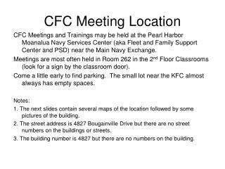 CFC Meeting Location