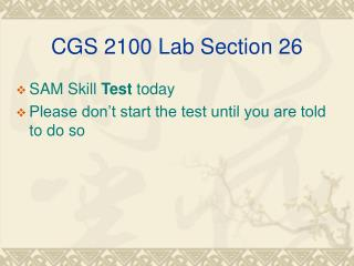 CGS 2100 Lab Section 26