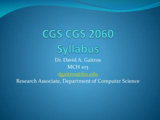 CGS  CGS  2060 Syllabus