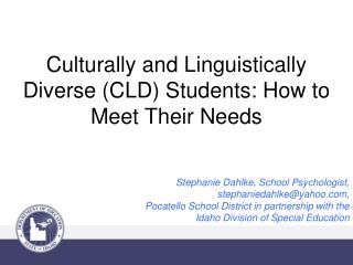 Culturally and Linguistically Diverse (CLD) Students: How to Meet Their Needs