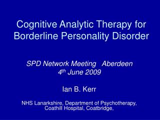 Cognitive Analytic Therapy for Borderline Personality Disorder