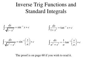 Inverse Trig Functions and Standard Integrals