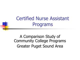 Certified Nurse Assistant Programs