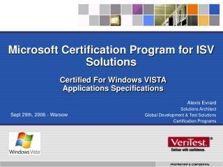 Microsoft Certification Program for ISV Solutions