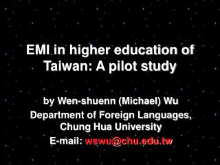 EMI in higher education of Taiwan: A pilot study