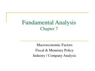Fundamental Analysis Chapter 7