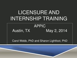 Licensure and Internship Training