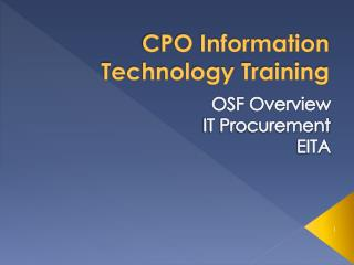 CPO Information Technology Training