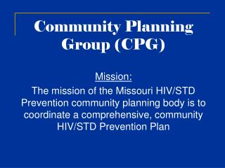 Community Planning  Group (CPG)