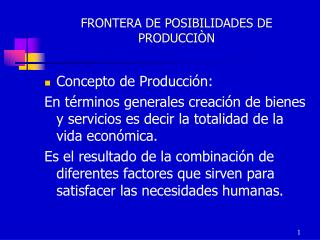 FRONTERA DE POSIBILIDADES DE PRODUCCI N