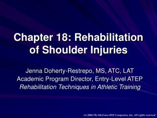 Chapter 18: Rehabilitation of Shoulder Injuries
