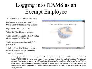 Logging into ITAMS as an Exempt Employee