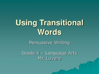 Using Transitional Words